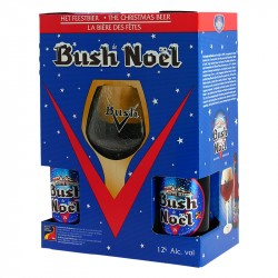 Coffret BUSH de NOËL 4X33 cl + 1 Verre