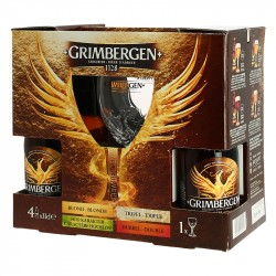 COFFRET GRIMBERGEN 4 X 33 CL + 1 VERRE