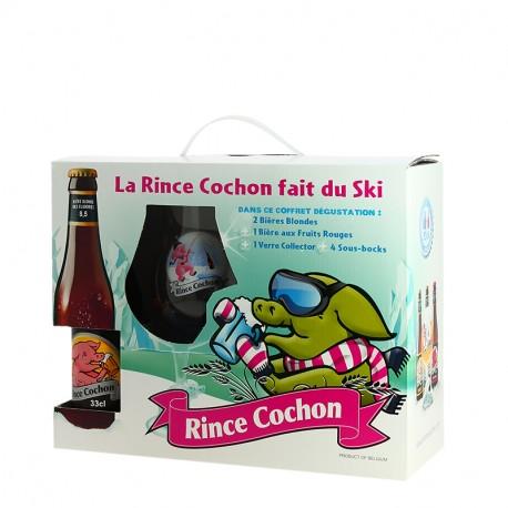 La RINCE COCHON fait du Ski 3X33 cl + 1 Verre