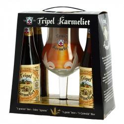 Coffret Cadeau TRIPEL KARMELIET 4 x 33 cl + 1 Verre