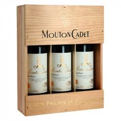 Coffret de bois 3 bouteilles de Bordeaux Rouge Mouton Cadet Vintage