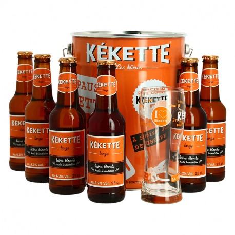 SEAU Bière La KEKETTE Blonde 6 x 25 cl + 1 Verre