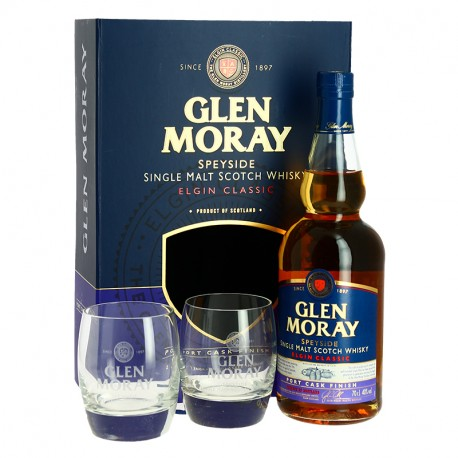Glen Moray Port Cask Finish Speyside Whisky Coffret + 2 verres