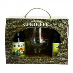 La CHOUFFE bière Belge des Ardennes Coffret 4X33 cl + 1 Verre.
