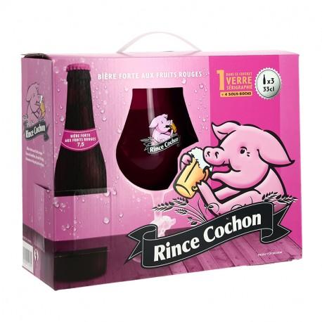 COFFRET Bière RINCE COCHON Rouge  3X33 cl  + 1 Verre