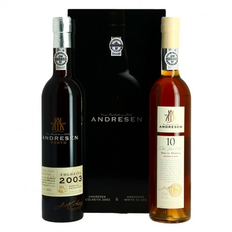 ANDRESEN Coffret cadeau Porto Blanc 10 ANS + Porto Colheita 2003  2 x 50 cl