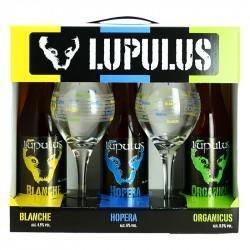 COFFRET Bière LUPULUS 3X33CL + 2 VERRES