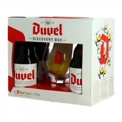 Coffret Cadeau Bière Belge DUVEL 4 X 33 cl + 1 Verre