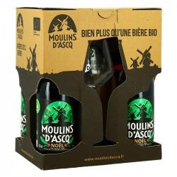 COFFRET Bière MOULIN D'ASCQ de NOEL 4 X 33 cl +  1 Verre