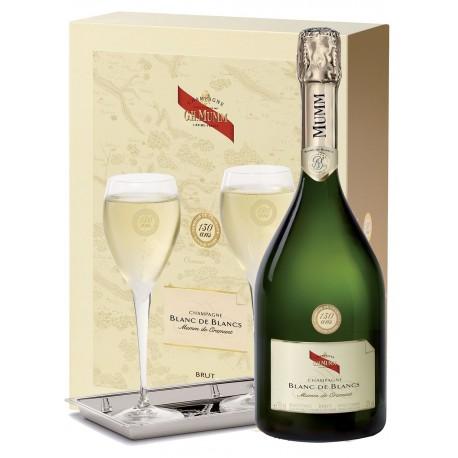 Coffret Champagne Mumm Cordon Rouge Blanc de Blancs 1 bouteille 2 flutes