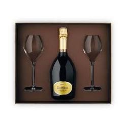 Coffret Champagne R de Ruinart - 1 bouteille + 2 flutes