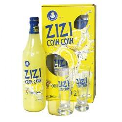 Coffret ZIZI COIN COIN ORIGINAL Apéritif au Citron Pressé - COFFRET 1 litre + 2 VERRES