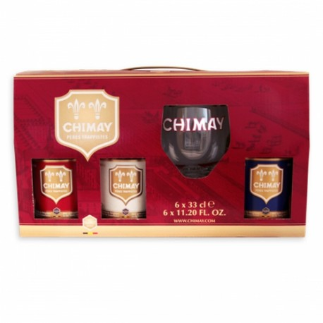 COFFRET CHIMAY 3 X 33 Cl + 1 VERRE CHIMAY