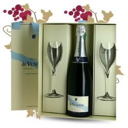 De Venoge Champagne Brut Cordon Bleu Coffret + 2 flutes