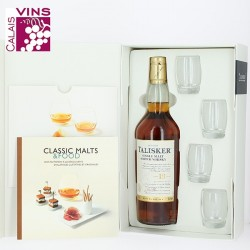 Coffret Whisky Talisker 18 ans + 4 verres + livret de recettes